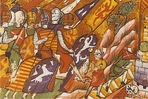 Crusaders, from 13th-century illuminated manuscript