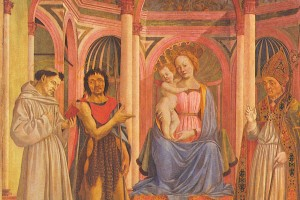 Veneziano, Virgin and Child with Saints (detail).  Uffizi Gallery, Florence
