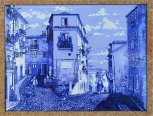 A view of Old Lisbon, painted on tile