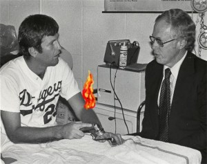 """I don't know how to describe it, Doctor Jobe. It sort of feels like my elbow is on fire."""