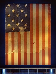 The Star-Spangled Banner that Key saw had 15 stars and 15 stripes.  (Smithsonian)