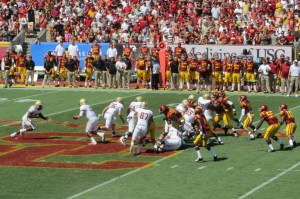 Andre Williams of Boston College runs for short gain against USC.